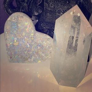 Clear Quartz Tower & Aura Druzy Heart Set